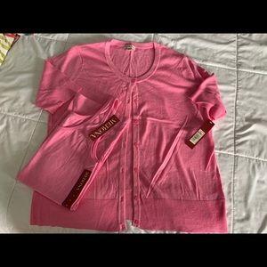 NWT New Merona Pink Cardigan Sweater Tank Set